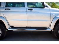Пороги труба D76 с накладками (вариант 3) на УАЗ Патриот до 2014г.